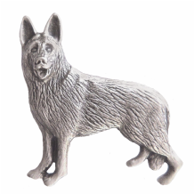 German Shepherd Alsatian Guard Dog Pewter Brooch - BR1249